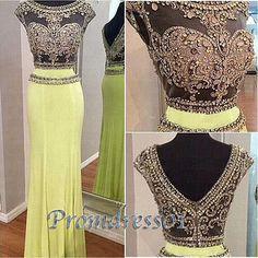 Vintage prom dress,beaded round neck yellow chiffon long evening dress for teens www.promdress01.c... #coniefox #2016prom