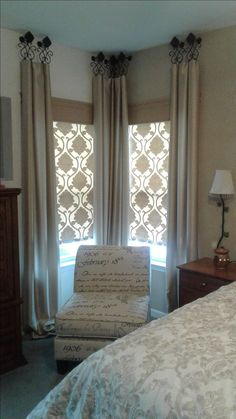 Looking to buy custom window treatments or just looking for window treatment ideas? This home interiors expert shares 12 common types of window treatments. Bedroom Curtains With Blinds, Bedroom Windows, Living Room Windows, Fabric Blinds, Burlap Curtains, Bay Windows, Vintage Curtains, Living Rooms, Unique Curtains