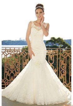 Scoop-neck Schönste Elegante Hochzeitskleider aus Organza mit Paillette