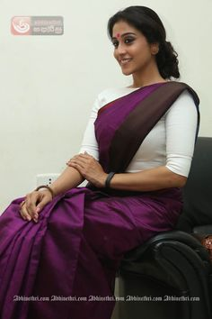 Regina Cassandra Looking Hot and Beautiful in Bengali Getup Purple Saree & White Blouse…