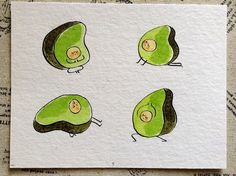 Avocados can strike many a yoga pose. | These Adorable Watercolor Fruits And Veggies Will Inspire You To Try Yoga