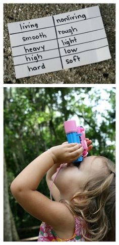 Nature Scavenger Hunt for Kids...An easy way to make your own scavenger hunt checklists. Use this one to practice opposites or come up with your own ideas!