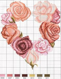 Cross Stitch Chart or Loom Beading Pattern Cross Stitch Heart, Cross Stitch Flowers, Counted Cross Stitch Patterns, Cross Stitch Designs, Cross Stitch Embroidery, Embroidery Patterns, Cross Stitching, Needlework, Creations