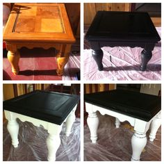 End table makeover-instead of black you could do any color!