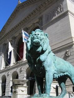 "Image detail for -One of the lions that ""guard"" The Art Institute of Chicago"