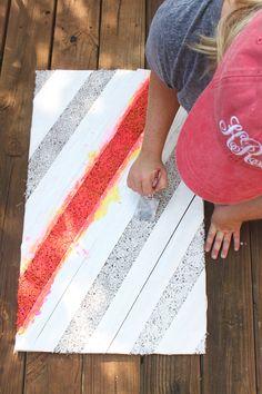 easy DIY projects | DIY doormat | easy DIY painted doormat | easy DIY ideas | colorful door mat | stripe doormat