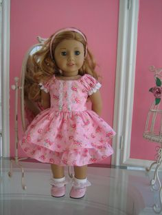 Easter/Princess/peasant type dress made to fit 18 inch American Girl doll. $21.95, via Etsy.