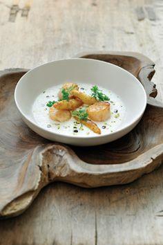 Aspergesoep met gebakken asperges en sint-jakobsvruchten - Ambiance - Philippe Van Den Bulck !