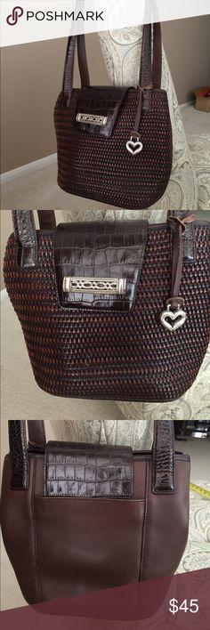 Brown Brighton leather weave bag. Brown leather weave shoulder bag. Brighton. Silver hardware. Brighton Bags Shoulder Bags