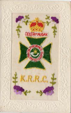 KING'S ROYAL RIFLE CORPS: EMBROIDERED MILITARY WW1 SILK POSTCARD