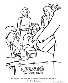 history coloring pages for kids right to vote supreme court lowers voting age to