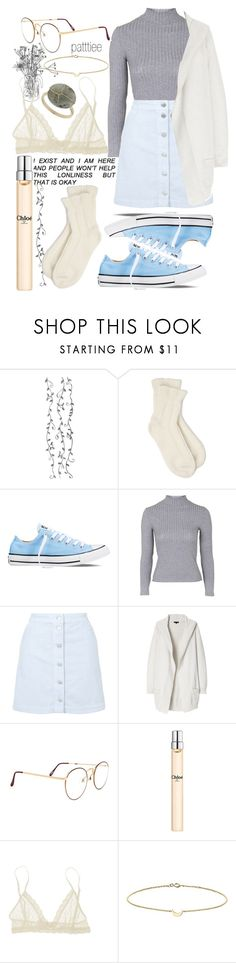 """030116"" by patttiee ❤ liked on Polyvore featuring Falke, Converse, Topshop, Theory, Chloé, Eberjey and Minor Obsessions"
