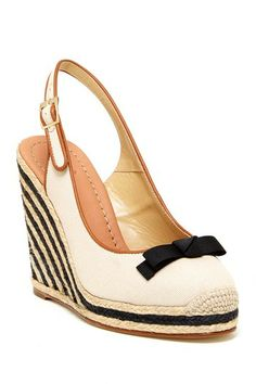 """Sweetie Slingback Wedge Pump by Kate Spade on @HauteLook . . . - Almond toe with woven tip;   - Bow at vamp;   - Contrast leather trim;   - Slingback strap with adjustable buckle closure;   - Striped espadrille wedge heel and platform;   - Approx. 4.5"""" heel, 0.75"""" platform;   - Imported;   Materials:    Canvas upper, leather lining and sole . . . $139.97 was $278.00; 50% off"""