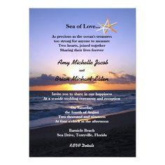 Sea of Love   Beach Sunset Starfish Wedding Invitations