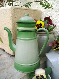 Vintage French enamel coffee pot by letsbevintage on Etsy, $49.99