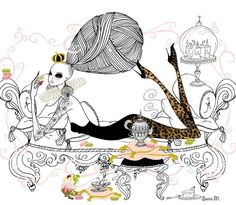 Breakfast in bed.....#soniamenti#illustration #illustrator #fashion #fashionillustration #art#fashionart#instafashion #instart#ink#cupcakes #muffins #sweets #teaparty#bighair #style#boholife #enjoy #leopard #bedtime #queen#drawing #lifestyle #bohemian#sexy