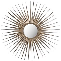 The sunburst Shanira Mirror, at just less than 34-inches wide, pairs an old, hand-crafted edge with contemporary styling.