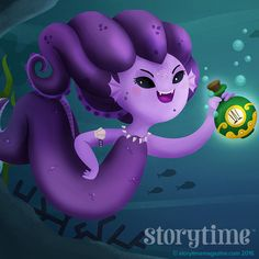 Boo hiss! The sea witch from the Little Mermaid in Storytime Issue 24! Art by Martuka (http://www.martuka.com) ~ STORYTIMEMAGAZINE.COM