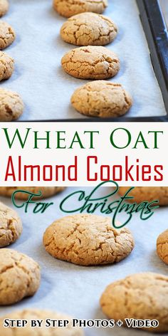 Eggless Wheat Oat Almond Cookies Recipe with step by step photos and VIDEO – These crispy and delicious cookies are a family favorite and perfect for the holiday season. Eggless Cookie Recipes, Eggless Baking, Best Cookie Recipes, Raw Food Recipes, Sweet Recipes, Baking Recipes, Dessert Recipes, Eggless Biscotti Recipe, Easy Recipes
