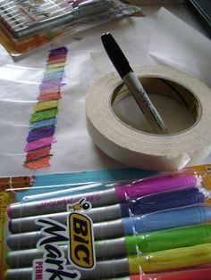 """use markers on masking tape to make """"washi"""" tape - lay tape on wax paper to design, then peel up when ready to use."""