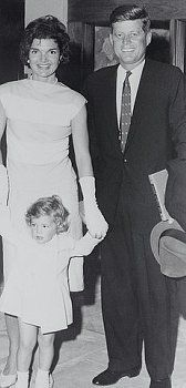 Senator and Mrs. John F. Kennedy with their daughter, Caroline.