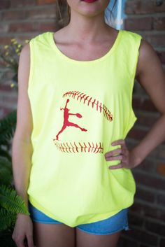 This vibrant neon yellow tank is perfect for all softball players & fans! With a vibrant neon yellow hue and the red vinyl softball design,