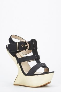 Curve Wedge Strappy Sandals