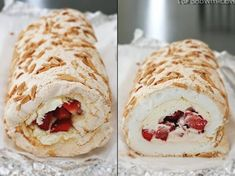 Pavlova Roulade with Strawberries and Mascarpone Cream, from To Food with Love blog. Passover Desserts, Easy Desserts, Delicious Desserts, Sweet Recipes, Cake Recipes, Dessert Recipes, Meringue Roulade, Elegante Desserts, Meringue Desserts