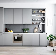 The kitchen set's inspiration is more beautiful and more beautiful is the order - Kitchen Decor Loft Kitchen, Kitchen Sets, Living Room Kitchen, New Kitchen, Kitchen Decor, Grey Kitchen Interior, Modern Kitchen Design, Modern Grey Kitchen, Cocinas Kitchen