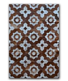 Brown & Natural Marrakesh Stitched Cowhide Leather Rug