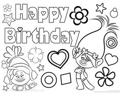 Have your little ones celebrate their birthday with Trolls with this free Trolls Happy Birthday coloring page. Visit KidsPartyWorks.Com for tons of free kids party printables.