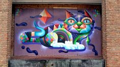 Eelco van den Berg in Rotterdam, Netherlands, 2015 Grafitti Street, Murals Street Art, Graffiti Cartoons, Alley Cat, Building Art, Public Art, Urban Art, Cool Artwork, Art Forms
