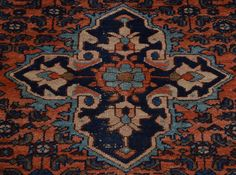 3.5' x 6' Antique Persian Hamadan Even Wear Oriental Rug Hand Knotted