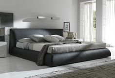 Modern Black Upholstered Floor King Bed Frame With Headboard For Masculine Bedroom Design As Well As And