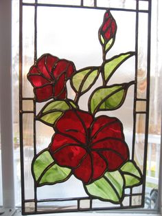 Stained Glass Hibiscus Panel