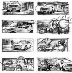 This one's pretty detailed; it almost seems like a page from a comic book. I like how it jumps back and forth between showing the inside and the outside of the car. It's kind of confusing though, because the eye doesn't know which way to move.
