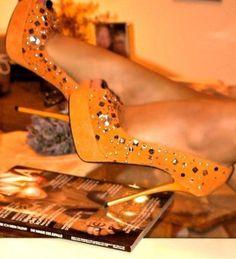 Orange Stiletto Platform Pumps With Imitation Gemstones Crazy Shoes, Me Too Shoes, Weird Shoes, Orange Heels, Shoe Boots, Shoes Heels, Gorgeous Heels, Killer Heels, Orange Crush