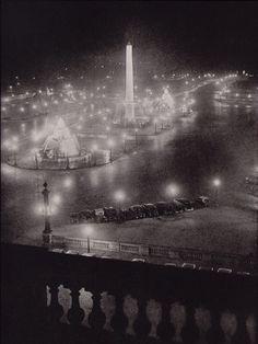 "Brassai (Gyula Halasz) Place de la Concorde from Automobile Club From ""Paris by Night"" 1933"
