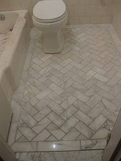 Browse most recent Marvelous Herringbone Tile Floor Bathroom Floor Tile Herringbone Pattern remodeling tips in few pictures from Bonnie Henderson, in. Marble Tile Bathroom, Bathroom Floor Tiles, Shower Floor, Tiling, Floor Grout, Bathroom Wallpaper, Kitchen Floor, White Bathroom, Gray Bathrooms