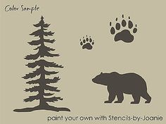 STENCIL-Bear-Tree-Paw-Tracks-Rustic-Mountain-Outdoor-Cabin-Lodge-Signs-U-Paint