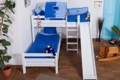 Amazon.de: Etagenbett / Spielbett Moritz L Buche Vollholz massiv weiß lackiert mit Regal und Rutsche