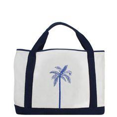 Palm Tree Canvas Beach Bag White/Navy