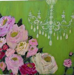 Apple Green with Chandelier by Susan Brown, 30 x 30...Gorgeous!