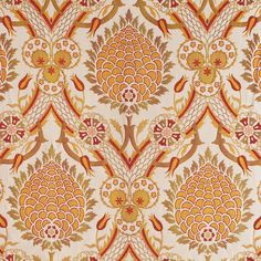 Ottoman textiles, particularly those used by the ruling class, were sumptuous. Elaborate or bold brocades in silk, often with metal threads, were coveted. The color palette was rich and there was. Textile Patterns, Textiles, Textile Design, Print Patterns, Red Ottoman, Fabric Ottoman, Orange Home Decor, Old Wallpaper, Morris