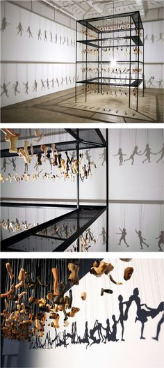 Shadows by Bohyun Yoon. Shadow Puppet Installations Made Out Of Doll Parts.