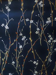 RESERVED Vintage floral wallpaper, per meter, willow blossom branch pattern dark deep blue midnight navy chinoiserie dramatic home decor Modern Floral Wallpaper, Asian Wallpaper, Vintage Floral Wallpapers, Navy Wallpaper, Chinoiserie Wallpaper, Home Wallpaper, Textured Wallpaper, Flower Wallpaper, Pattern Wallpaper