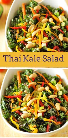 Healthy Food & Recipes This Thai Kale salad Food & Drink Healthy Snacks Nutrition Cocktail Recipes This Thai Kale salad is a lovely salad with the addition of bell peppers and the oriental flavors are perfect for company Kale Recipes, Raw Food Recipes, Asian Recipes, Vegetarian Recipes, Cooking Recipes, Healthy Recipes, Vegetarian Salad, Healthy Salads, Healthy Eating