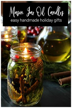 These beautiful candle lamps are made with olive oil, spices and essential oils…. These beautiful candle lamps are made with olive oil, spices and essential oils. Housed in mason jars, they will make a great gift for any one your list. Pot Mason Diy, Mason Jar Gifts, Mason Jar Candles, Candle Gifts, Crafts With Mason Jars, Mason Jar Projects, Diy Projects, Oil Candles, Diy Candle Oil