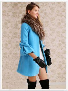 Morpheus Boutique  - Blue Hair Collar 3/4 Sleeve Button Down Wool Bow Long Sleeve Coat