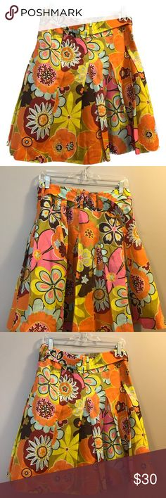 """Etcetera Floral Pleated Skirt Casual Pink Orange 6 Floral Skirt Orange Pink Green Casual  Pleated With Belt  Side Zipper  Size 6 Waist 15"""" Hips 22"""" Length 22""""  No Spots or Stains  Price is Negotiable  Please feel free to contact me with any questions or concerns  Thanks for looking at my Closet  Have a great day Etcetera Skirts Mini"""
